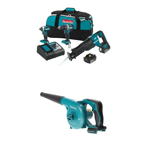 Makita XT328M 4.0 Ah 18V LXT Lithium-Ion Brushless Cordless Combo Kit, 3 Piece with Two DUB182Z 18V LXT Lithium-Ion Cordless Blowers (Bare Tools Only)