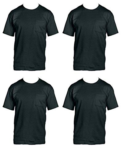 Fruit of the Loom Men's 4-Pack of Pocket T-Shirts, Black, L (Pack of - Tee Hole Black