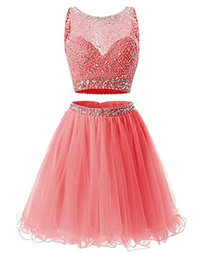 JYDress Two Piece Beaded Tulle Formal Prom Dress Short Bodice Homecoming Dress