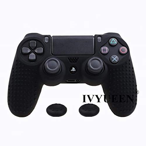 Cover A867 - 2PCs Silicone Rubber Cover Skin Case Playstation 4 PS4 Pro Slim Controller Gamepad Cover with 2 Caps Grips Black PS4 Controller Covers - Silicone Skin, Silicone Cover A867