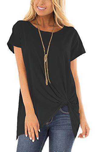 Viishow Womens Summer Clothes Cotton Tunic Twist Knot Plus Size Black XXL