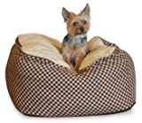 KandH Deluxe Medium Cuddle Cube, Brown Squares, 26-Inch by 26-Inch, My Pet Supplies