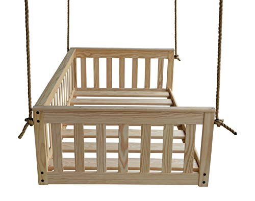 (A&L Furniture VersaLoft Amish-Made Pine Twin Mission Swingbed with Rope, Unfinished)