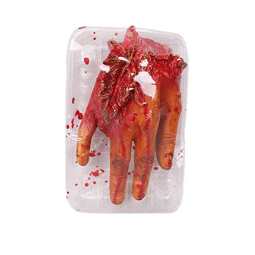 Livoty Halloween Fake Heart Brain Organ Haunted Set Meal Home Party Decorate Blood Horror Props Trick (A)