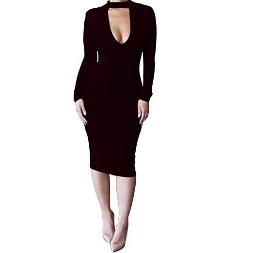 85c386f6aacfe Heihorse Women's Bodycon Sexy Long Sleeve V Neck Choker Knee Length Evening  Cocktail Midi Dress (Small, Black) at Amazon Women's Clothing store: