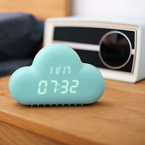 HILTOW Cute Cloud Alarm Clock,Creative Voice/Sound Control Led Clock for Students Kids Boys Girls with Time and Temperature,Rechargeable Always Display/Energy Saving Mode,Decoration Wall Clock,Blue by Hiltow (Image #1)