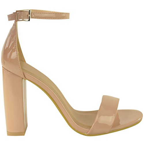 Womens Heels Size Nude Fashion Toe Strap Patent Sandals Open Block High Thirsty Shoes Ankle ITwq5