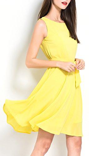 ASCHOEN - Vestido - trapecio - Básico - Sin mangas - para mujer amarillo