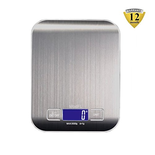 Digital Kitchen Scale for Food LCD Backlite Display and Tare Function Stainless Steel 11 lb (Ounce 0.05 Liquid Electric)
