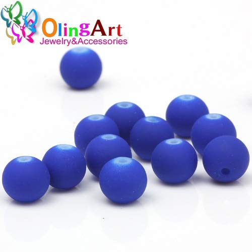 Pukido Rubber Glass Beads 100PCS 8mm Candy Color Neon Matte Beads Handmade Jewelry Making DIY 2019 New - (Color: 006 8mm ()