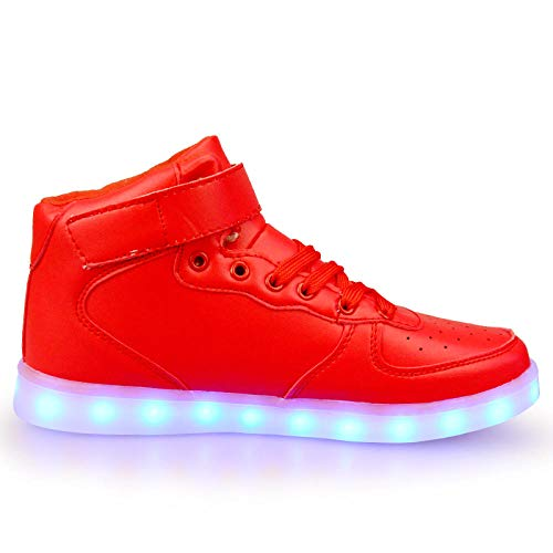 Sneakers,Fashion Couple High-Top Mirror Men and Women Led Colorful Radiant Shoes USB -