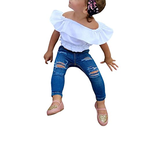 Toraway 2PCS/ Set Toddler Kid Baby Girl Off Shoulder Solid Blouse Tops+ Jeans Pants Clothes Outfit (3T, White)