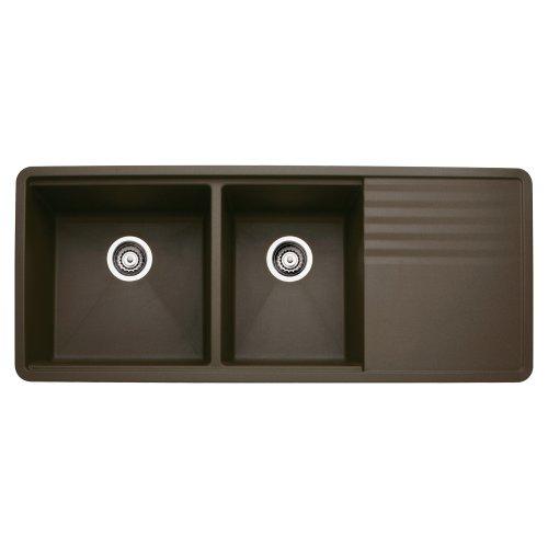 Level Double Bowl Kitchen Sink - Blanco 440399 Précis Multi-Level 1-3/4 Bowl with Drainer, Café Brown