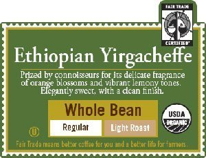 Green Mountain Coffee Roasters Organic Coffee Ethiopian Yirgacheffe Whole Bean 10 oz. (Pack of 5)