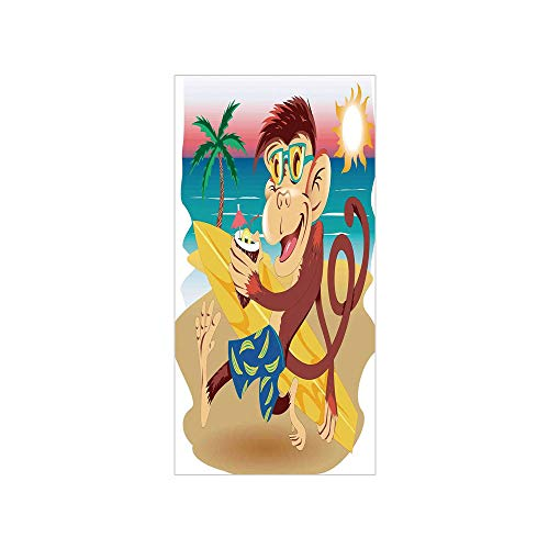 Bathroom Kids Sunny - Ylljy00 Decorative Privacy Window Film/Hipster Monkey with Surfboard and Glasses Drinking on Beach in Sunny Day Kids/No-Glue Self Static Cling for Home Bedroom Bathroom Kitchen Office Decor Multi