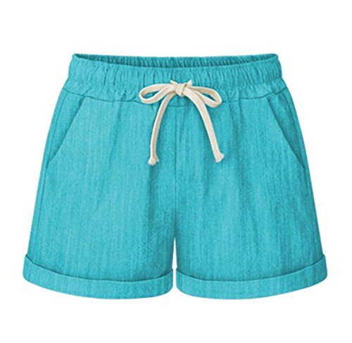 Vcansion Womens Plus Size Shorts Elastic Waist Walking Shorts Turquoise US 16-18/Asian 5XL