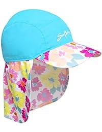 SunBusters Girls Flap Hat (UPF 50+), Prettyberry Blue, Small
