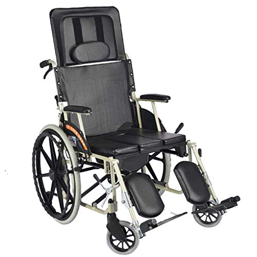 MLMHLMR Wheelchair Portable Travel Chair Full Reclining Light Folding Wheelchair Aluminum Alloy Carrying Elderly Power Trolley Leather Fabric Walker