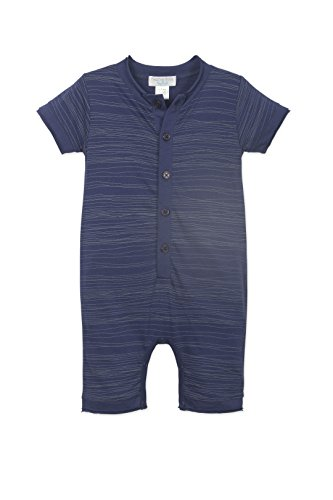 othes Pima Cotton Short Sleeve Henley One-Piece Shortie Romper, 9-12 Months, Stripe-Wood on Indigo ()