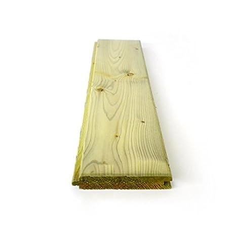 Tablones de terraza de madera de teca de BioMaderas; anchura 50 mm Marr/ón grosor 19 mm