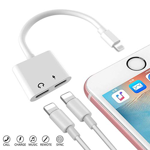 Dual Port Adapter, 2 in 1 Headphone Audio + Charging Jack Connector Splitter Compatible iPhone Xs/Xr/X/8/7 Plus, Support Call + Charge + Music