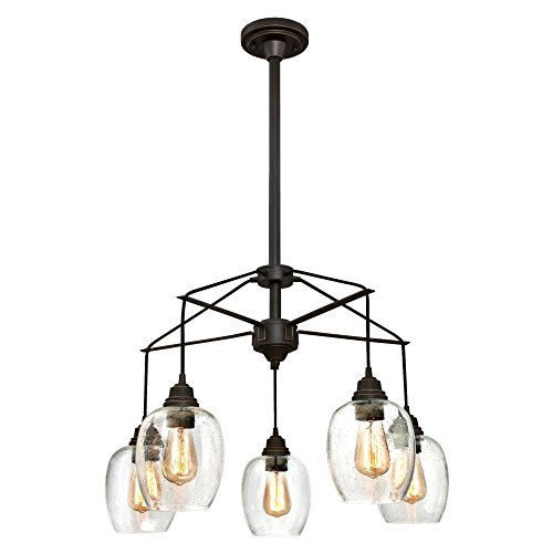 Westinghouse Lighting 6333100 Eldon Five-Light Indoor Chandelier, Oil Rubbed Bronze Finish with Highlights and Clear Seeded Glass, 5