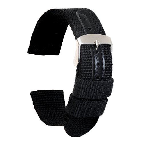 Ullchro Nylon Watch Strap Replacement Canvas Watch Band Military Army Men Women - 18mm, 20mm, 22mm, 24mm Watch Bracelet with Stainless Steel Silver Buckle (22mm, ()