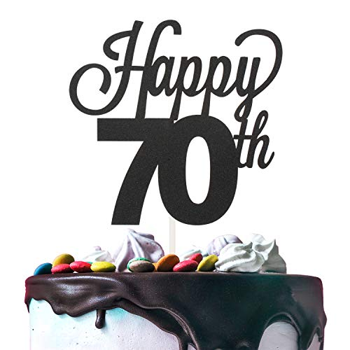 (Happy 70th Birthday Black Glitter Cardstock Paper Cake Topper Cheers to 70 Years Old Bday Party Gift Photo Booth Sign Decoration - Premium Double Sided)