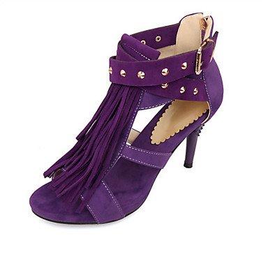 LvYuan Mujer-Tacón Stiletto-Innovador Zapatos del club-Sandalias-Boda Oficina y Trabajo Informal-Vellón Materiales Personalizados-Negro Azul Black