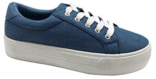 Cambridge Select Women Lace-up Gesloten Ronde Neus Flatform Fashion Sneaker Blue Denim