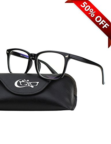 CGID CT82 Horn Oversized Blue Light Blocking Glasses,Better Sleep, Anti Glare Fatigue Blocking Headaches Eye Strain,Safety Glasses for Computer/Phone,Vintage Bold Black Frame,Transparnet - For Protective Glasses Computer