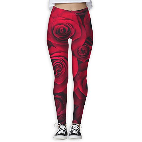eb9e00215d19a9 KKKOOO Women Valentine's Day Rose Flower Love Polyester Cloth Of ammonia  Yoga Training Trousers Sports Yoga Pants Leggings For Running and Workout