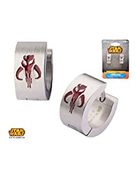 Disney Star Wars Women's Stainless Steel Enamel Filled Mandalorian Symbol Huggie Earrings