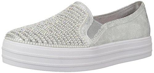 Skechers Kids' Double up-Shiny Dancer Sneaker,Silver,1 Medium US Little Kid Dancer Footwear