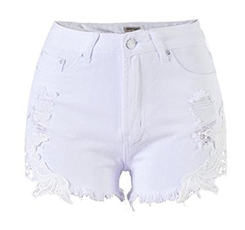 Women Elastic High Waist Lace Shorts White - 7