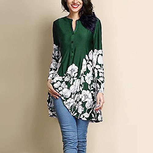 LONGDAY Women Plus Size Blouse Floral Print V-Neck Fashion Long Sleeve on Long Shirt Green