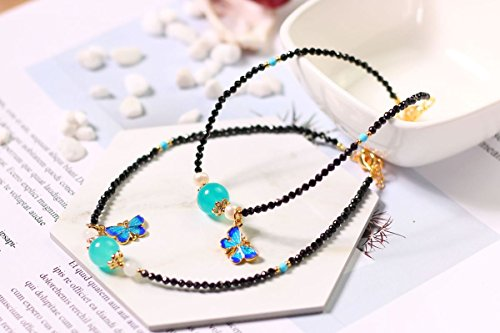 (Natural black spinel Foot Chain anklet fashion wild Tianhe stone pearl Foot Chain anklet roasted Blue Butterfly extend chain)