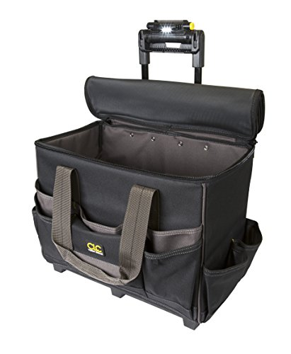 CLC Custom Leathercraft L258 TechGear Roller Tool Bag with Lighted Handle, 17 Inch