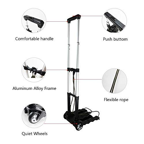 RMS Folding Luggage Cart - Lightweight Aluminum Hand Truck with Wheels - Heavy Duty Solid Construction Utility Cart - Collapsible and Portable Fold Up Dolly for Travel, Moving and Office Use (Black)