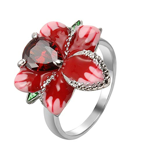 Rose Flower Ring for Women, Tuscom Red Garnet Topaz Engagment Rings Solitaire Anniversary Eternity Bands Women's Ring Bride Ring Wedding Ring, Gifts for Birthday Christmas, Size 5-11 (5, Red)