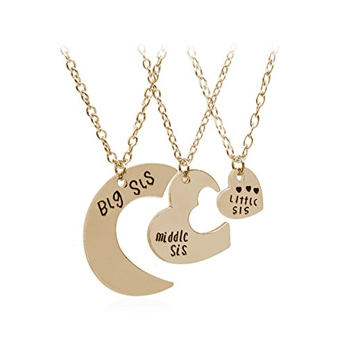 3Pcs Big Sister Little Sister Middle Sister Necklace Big Middle Little Sis Necklace Heart Pendant Birthday Valentine's Day Gifts for Women Sister
