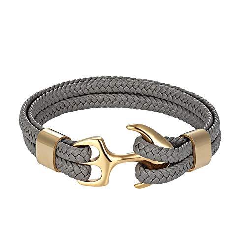 (Cyan mango Fashion Anchor Bracelets Men Women Paracord Bracelet Male Wrap Metal Stainless Steel Hook,19cm)