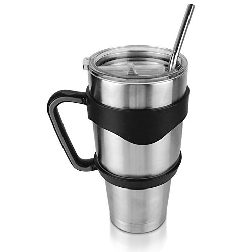 30 Ounce Stainless Steel Double Wall Insulated Travel Tumbler Cup Mug with Handle, Spill Proof Lid, Bent and Curved Stainless Steel Straw