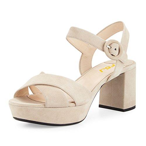 Fsj Kvinder Sommer Ankel Rem Chunky Hæl Sandaler Peep Toe Platform Komfortable Sko Str 4-15 Os Beige Dqsmk