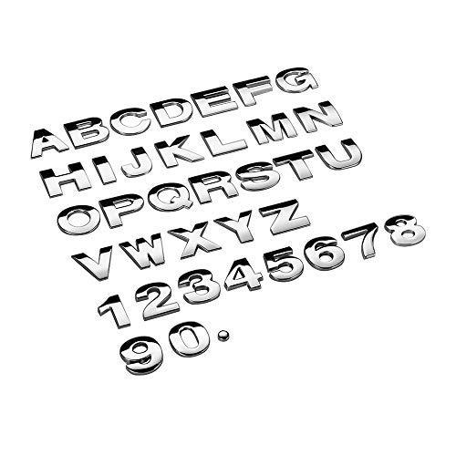DDV - US - 25mm Car Auto Chrome Metal DIY 3D ARC Letters Digital Alphabet Emblem Decoration Car Stickers Logo Automobiles Car Accessories DDV*US