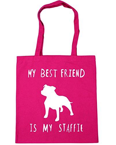 HippoWarehouse Tote litres x38cm dog staffie 42cm Fuchsia Beach My friend 10 Bag my Gym is Shopping best 0OZwRrqTx0
