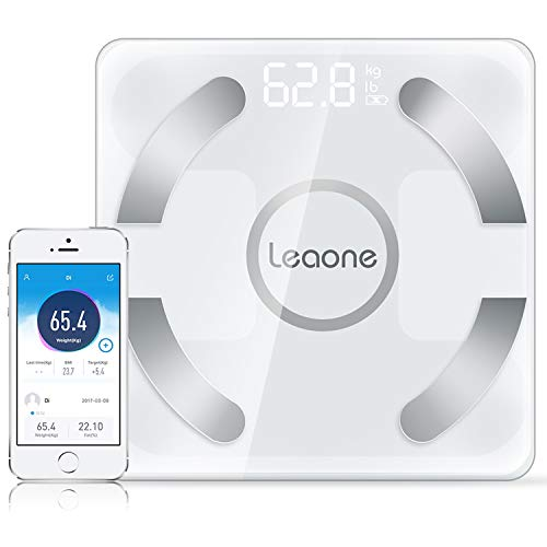 Leaone Bluetooth Body Fat Scale USB Rechargeable Smart Digital Bathroom Weight Scale Body Composition Analyzer with iOS and Android APP for Body Weight, Fat, Water, BMI, BMR, Muscle Mass
