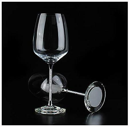 Wineglass, juego de 2 copas de vino tinto y copas de vino, elegantes copas de vino de cristal con diamante, copa de cáliz como regalo para cumpleaños, Navidad y cada occasi A-560 ml