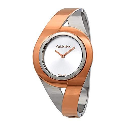 (Calvin Klein Sensual Silver Dial Ladies Two Tone Medium Bangle Watch K8E2M1Z6)