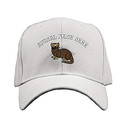 Custom Baseball Hat Ferret B Embroidery Animal Name Acrylic Structured Cap Hook & Loop - White, Personalized Text Here